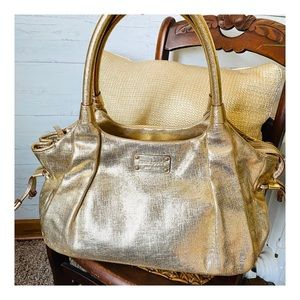 Kate Spade Stevie Gold Satchel Large Handbag Purse